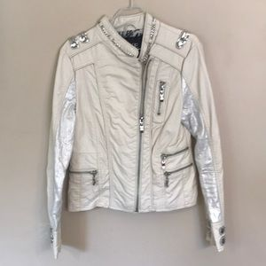 BKE Cream Colored Faux Leather Jacket